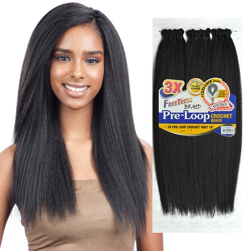 FreeTress Synthetic Hair Crochet Braids 3X Pre-Loop Crochet Yaky 16