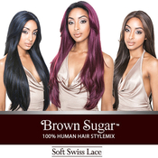 ISIS Human Hair Blend Lace Front Wig Brown Sugar Soft Swiss Lace BS216