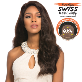 Sensationnel Unprocessed Brazilian Virgin Remy Human Hair Lace Front Wig Bare & Natural 4X4 Swiss Lace Euro Body