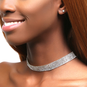 MultiLayered Rhinestone Choker on Clear Pad and Earrings Set