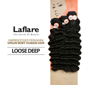 LaFlare Unprocessed Peruvian Virgin Human Hair Weave Loose Deep