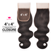 Queen By Ali Unprocessed Brazilian Remy Human Hair Weave HandTied 4X4 Lace Parting Closure Body