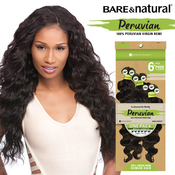 Sensationnel Unprocessed Peruvian Virgin Remy Human Hair Weave Bare AMP; Natural Loose Deep 6Pcs  Free Closure