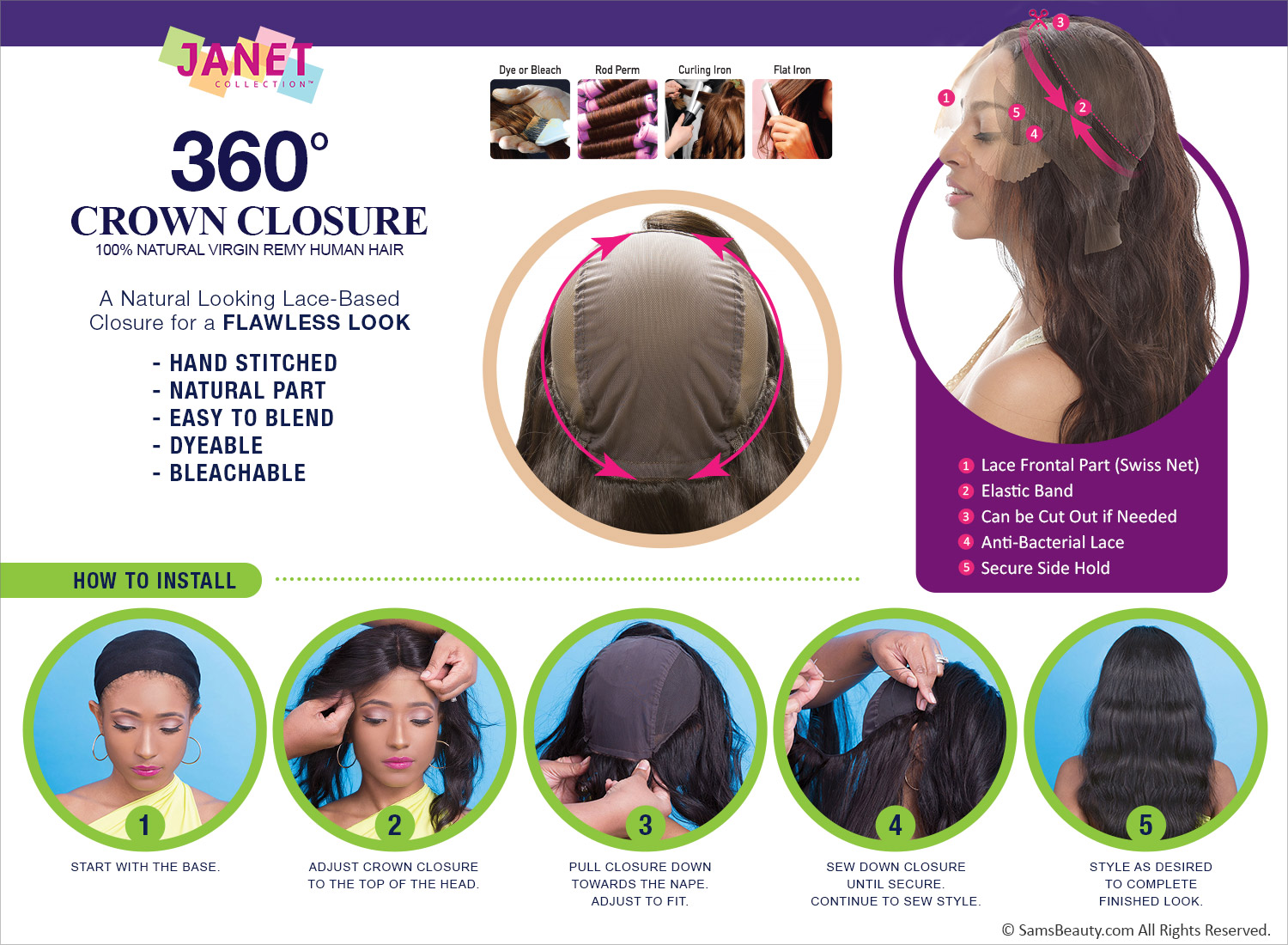 Janet Collection Virgin Remy Human Hair Weave 360 Crown Closure 360