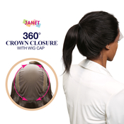 Janet Collection Virgin Remy Human Hair Weave 360 Crown Closure 360 Lace Frontal with Cap
