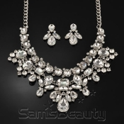 Eccentric Teardrop Rhinestone Necklace and Earrings