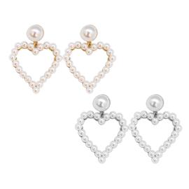 White Pearl Heart Shape Earrings