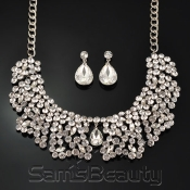 Noble Rhinestone Necklace and Earrings