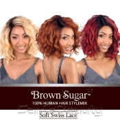 ISIS Human Hair Blend Lace Front Wig Brown Sugar Soft Swiss Lace BS206