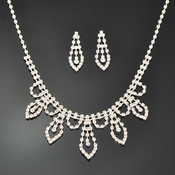 Cascading Dewdrop Rhinestone Necklcace and Earrings