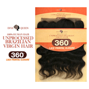 Diva Queen Unprocessed Brazilian Virgin Remy Human Hair Weave 360 Lace Frontal Closure Loose Deep 22x4x2
