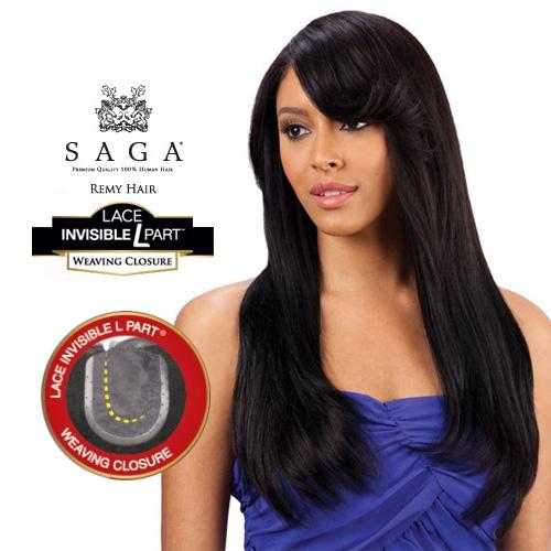 Milky Way Saga Remy Human Hair Weave Lace Invisible L Part Weaving Closure Samsbeauty