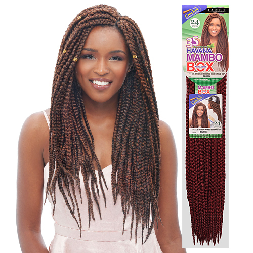 ... Collection Synthetic Hair Crochet Braids 3S Medium Mambo Box Braid 24