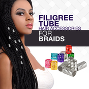 Braiding Metal Cuffs Hair Decoration Filigree Tube 50PCS  Assorted Color