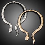 Curved Metal Snake Collar Necklace