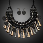 Layered Chain Statement Necklace and Earrings