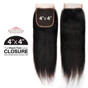 Beautiful Hair Unprocessed Brazilian Remy Human Hair Weave HandTied 4X4 Lace Parting Closure Straight