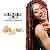Magic Collection Hair Decoration Filigree Tube With Stone