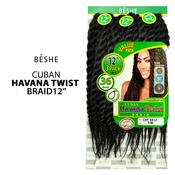 BESHE Synthetic Hair Crochet Braids Cuban Havana Twist Braid 3X 12 3Pcs
