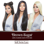 ISIS Human Hair Blend Whole Lace Wig Brown Sugar Soft Swiss Lace BS491