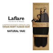 LaFlare Unprocessed Brazilian Virgin Remy Human Hair Weave Natural Yaki 7Pcs Include Perfect Lace Closure
