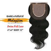 Sensationnel Malaysian Virgin Remy Human Hair Weave Bare AMP; Natural 4X4 Swiss Full Lace Top Body 12