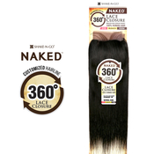 NAKED Nature Unprocessed Brazilian Virgin Remy Human Hair Weave 360 Circular Lace Frontal Closure Straight 16