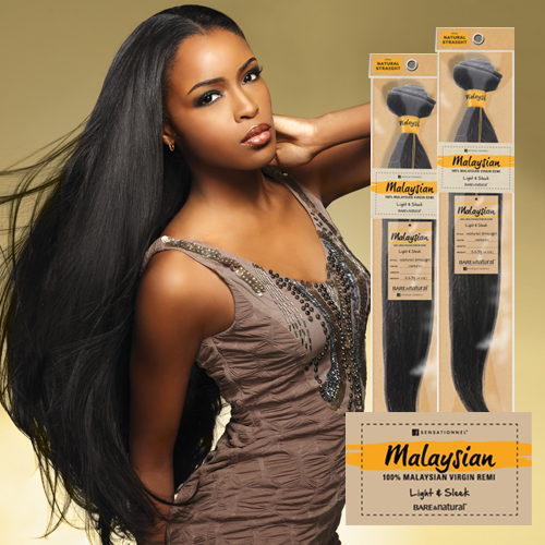 Sensationnel Unprocessed Malaysian Virgin Remy Human Hair Weave Bare Natural Straight