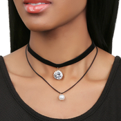 Double Layer Black Velvet Choker