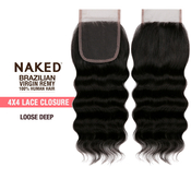 NAKED Nature Unprocessed Brazilian Virgin Remy Human Hair Weave 4X4 Lace Frontal Closure Loose Deep