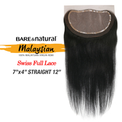 Sensationnel Malaysian Virgin Remy Human Hair Weave BareAMP;Natural 7x4 Swiss Full Lace 3Way Parting Straight 12