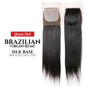 Queen Hair Unprocessed Brazilian Virgin Remy Human Hair weave 4X4 Full Lace Top Straight Closure