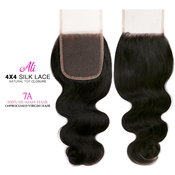 Ali Bundles Unprocessed 100 Virgin Human Hair Weave 4X4 Silk Lace Free Part Natural top Closure 7A Body Wave