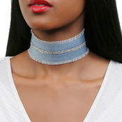 Lined Rhinestone Denim Choker
