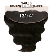 NAKED Nature Unprocessed Brazilian Virgin Remy Human Hair Weave 13X4 Lace Frontal Closure Body Wave