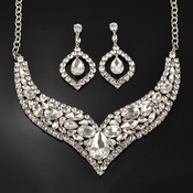 Splendid Pointed Leaf Rhinestone Necklace and Earrings