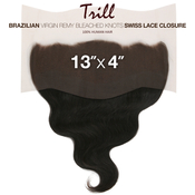 Trill Brazilian Virgin Remy Human Hair Weave 13X4 Bleached Knots Swiss Lace Closure Body Wave 14