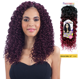 freetress synthetic hair crochet braids beach curl 12
