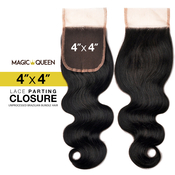 Magic Queen Unprocessed 100 Virgin Human Hair Brazilian Bundle Hair Weave 4X4 Lace Parting Closure Natural Body