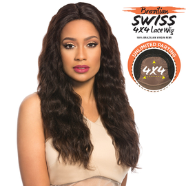 Sensationnel Unprocessed Brazilian Virgin Remy Human Hair Lace Front Wig Bare & Natural 4X4 Swiss Lace Loose Wave