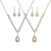 Rhinestone Dazzle Chain Gem Pendant Necklace and Earrings