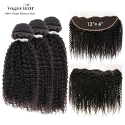 Vogue Hair 100 Virgin Human Hair Brazilian Bundle Hair Weave 6A Bohemian Jerry  13X4 Lace Frontal Closure