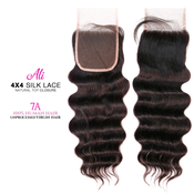Ali Bundles Unprocessed 100 Virgin Human Hair Weave 4X4 Silk Lace Free Part Natural top Closure 7A Ocean Wave