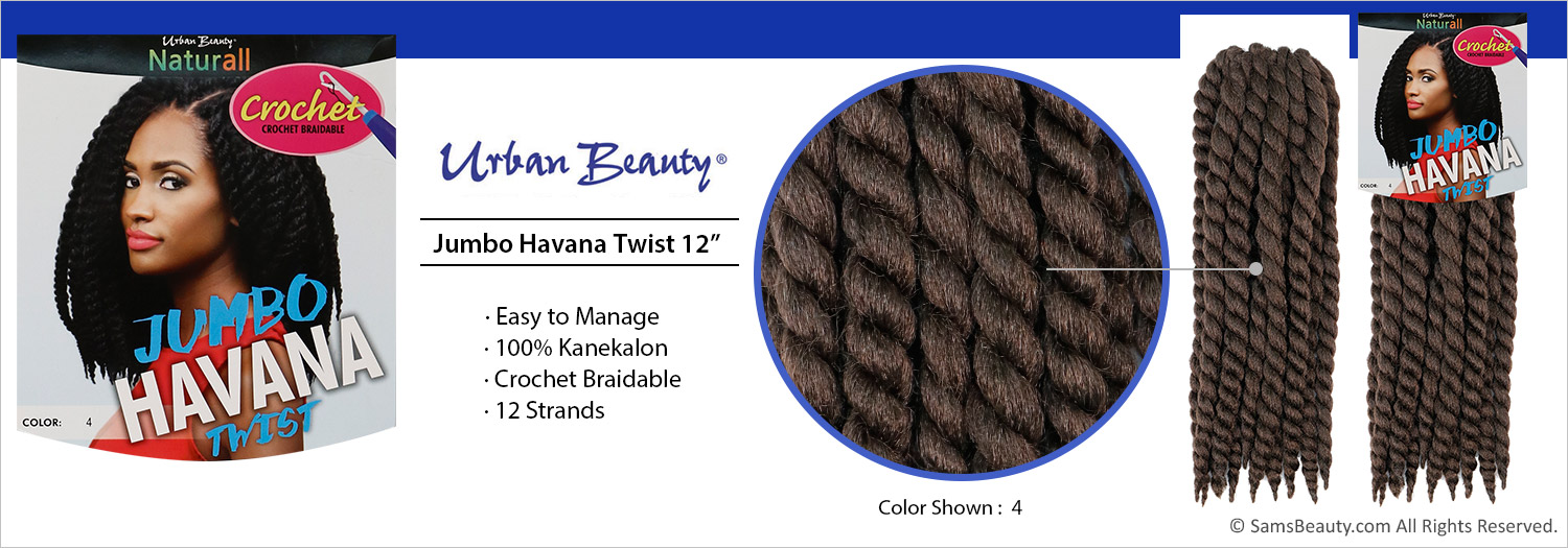 Urban Beauty Synthetic Hair Crochet Brads Jumbo Havana Twist 12