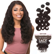 Sensationnel Virgin Remy Human Hair Weave BareAMP;Natural Body Wave 3pcs with 13x45Closure