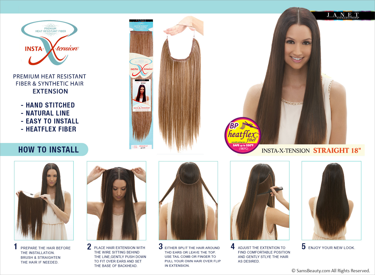 Janet Collection Synthetic Halo Hair Extensions Insta X Tension
