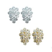 Rhinestone Cluster Clip on Earrings