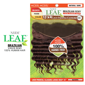 ModelModel Nude Leaf Unprocessed Brazilian Virgin Remy Human Hair Weave 13X4 Lace Frontal Closure Loose Deep