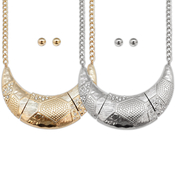 Bold Crescent Necklace and Earring Set