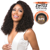 Sensationnel Unprocessed Brazilian Virgin Remy Human Hair Lace Front Wig Bare AMP; Natural 4X4 Swiss Lace Deep Curly